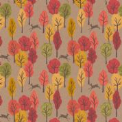 Lewis & Irene Autumn in Bluebell Wood - 5521 - Deer & Trees on Light Brown  - A250.2 - Cotton Fabric